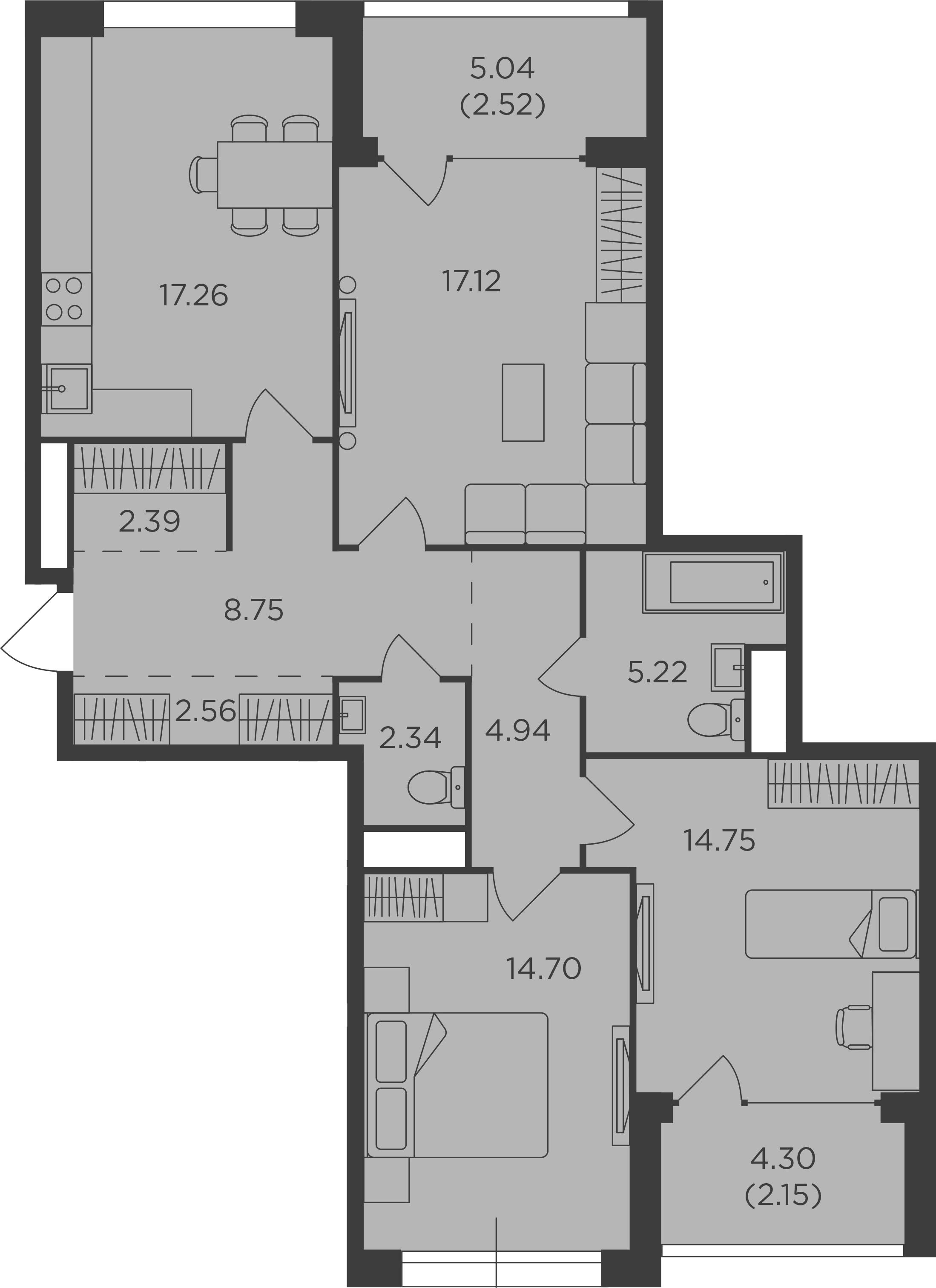 3-комнатная, 94.7 м²– 2