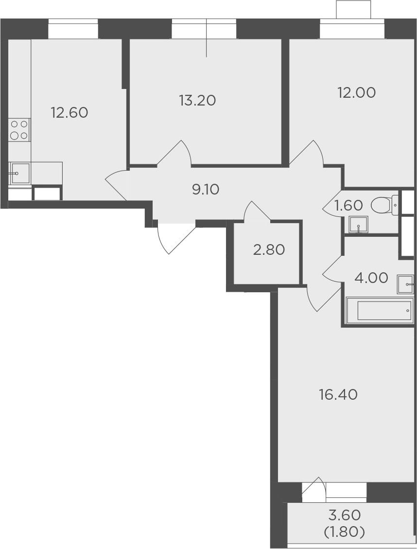 3-комнатная, 73.5 м²– 2