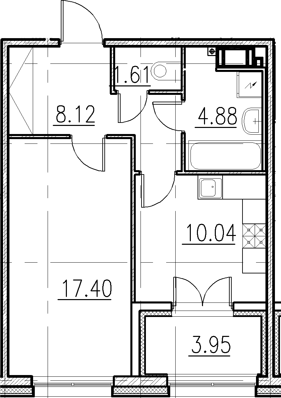 1-к.кв, 46 м²