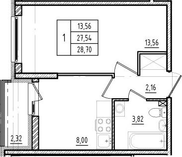 1-к.кв, 29.86 м²