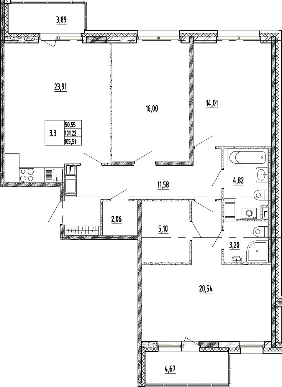 4Е-к.кв, 101.22 м²