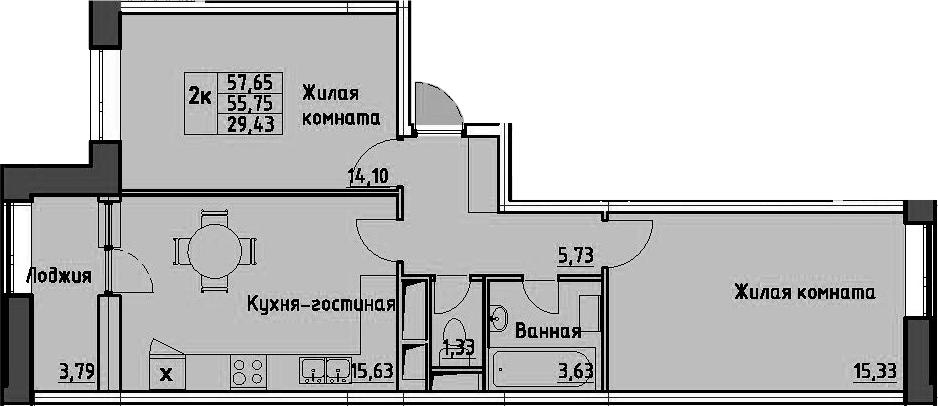 2-к.кв, 57.65 м²