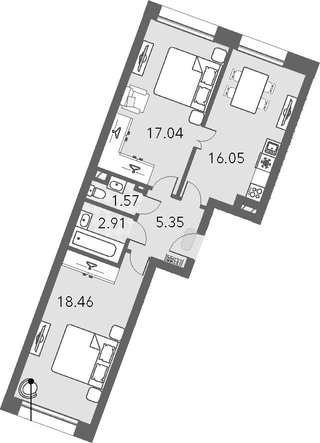 3Е-комнатная, 61.38 м²– 2