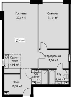 2Е-комнатная, 83.84 м²– 2
