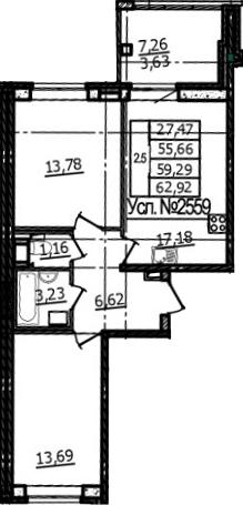 3Е-к.кв, 55.66 м², 2 этаж