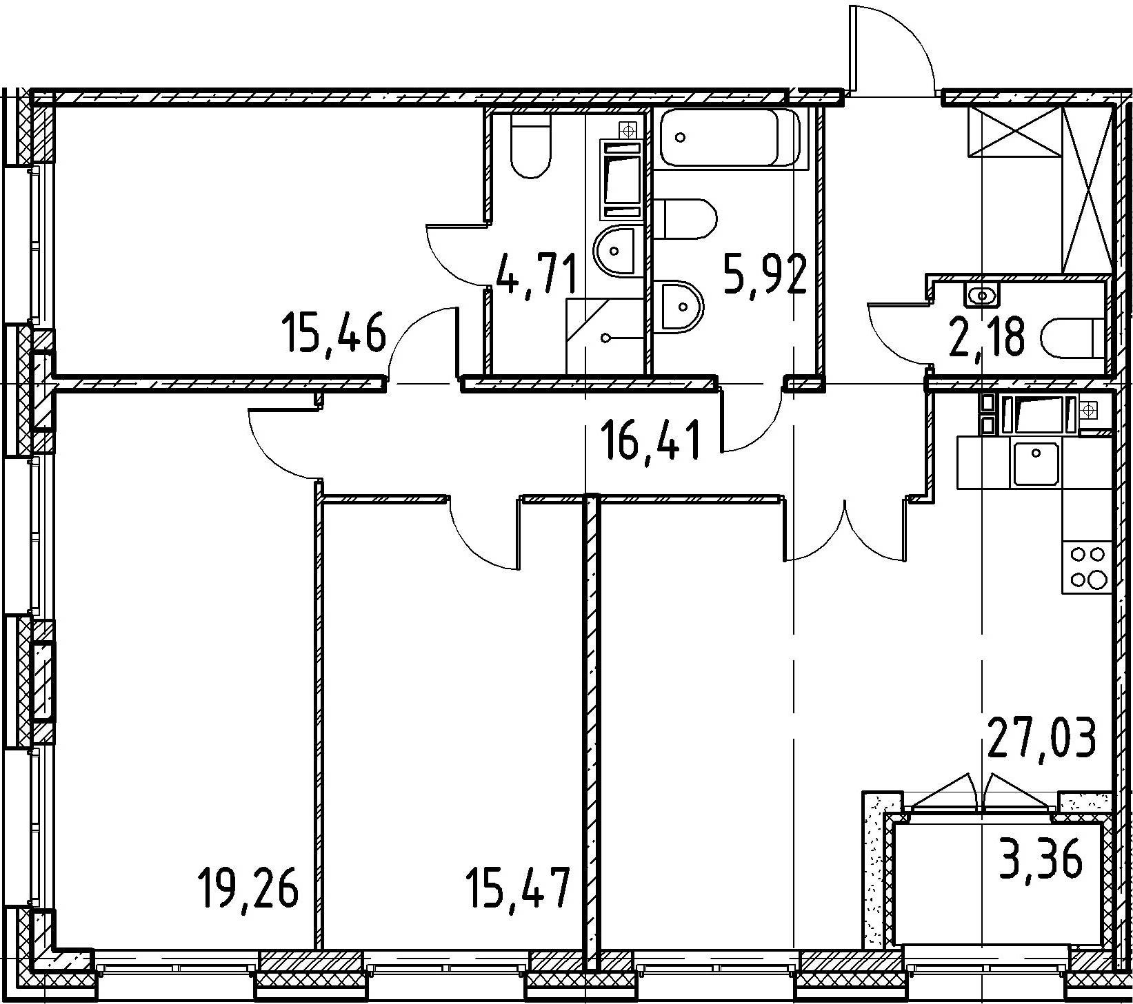 3-к.кв, 106.44 м²