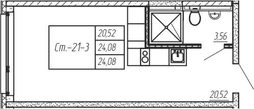Студия, 24.08 м², 3 этаж