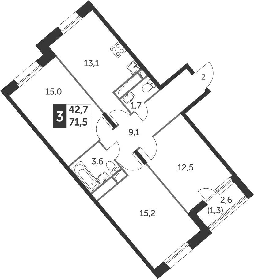 3-к.кв, 71.5 м², 8 этаж