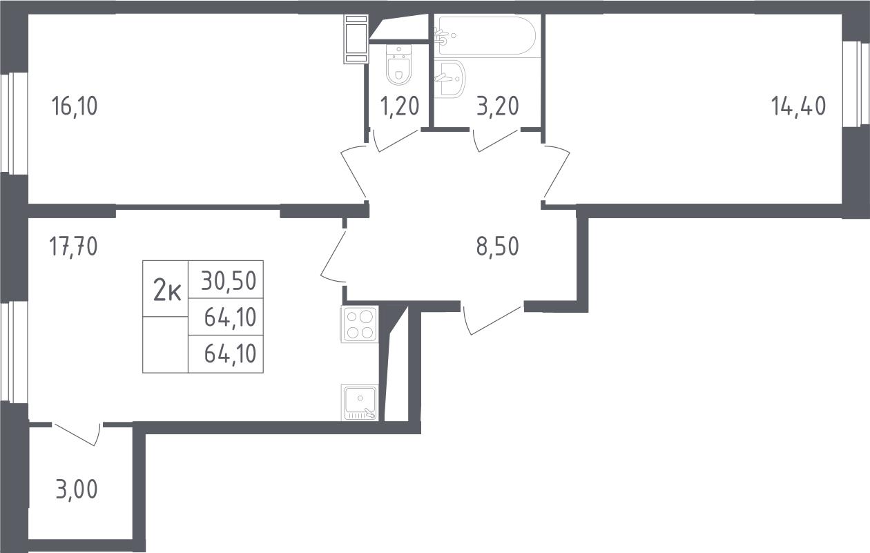 3-к.кв (евро), 64.1 м²
