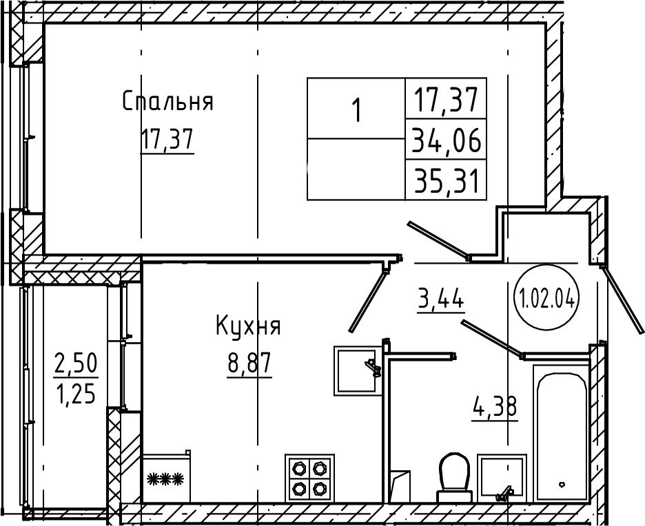 1-к.кв, 35.31 м², 2 этаж