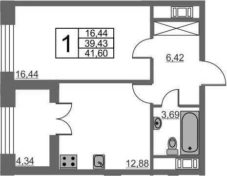 1-к.кв, 43.77 м²