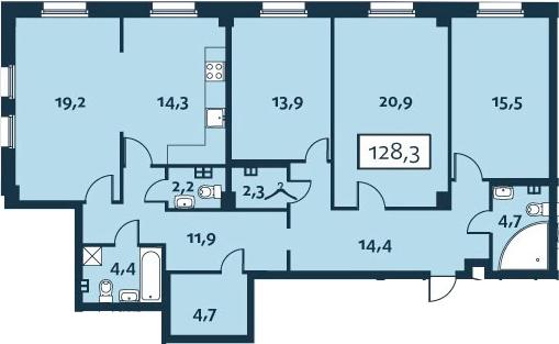 4-к.кв (евро), 128.34 м²