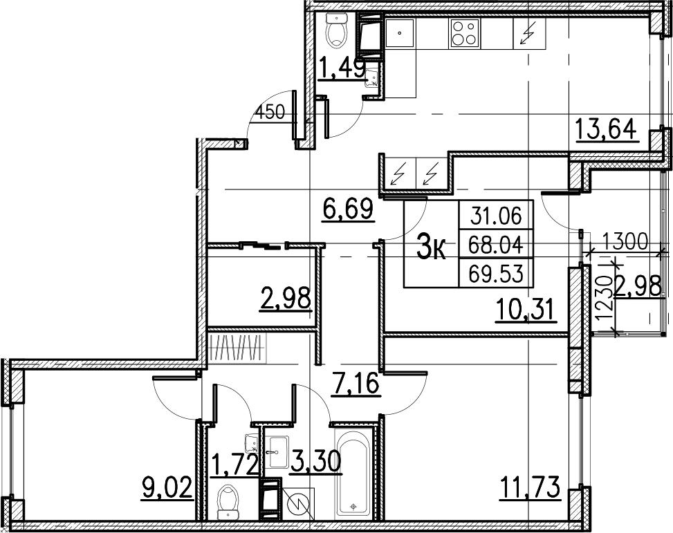 4Е-комнатная, 69.53 м²– 2