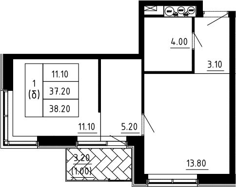1-к.кв, 38.2 м², 9 этаж