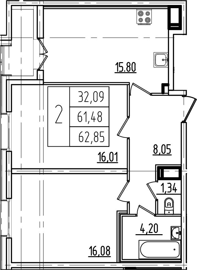 3Е-к.кв, 62.85 м²