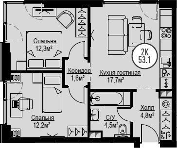 3Е-к.кв, 53.1 м²