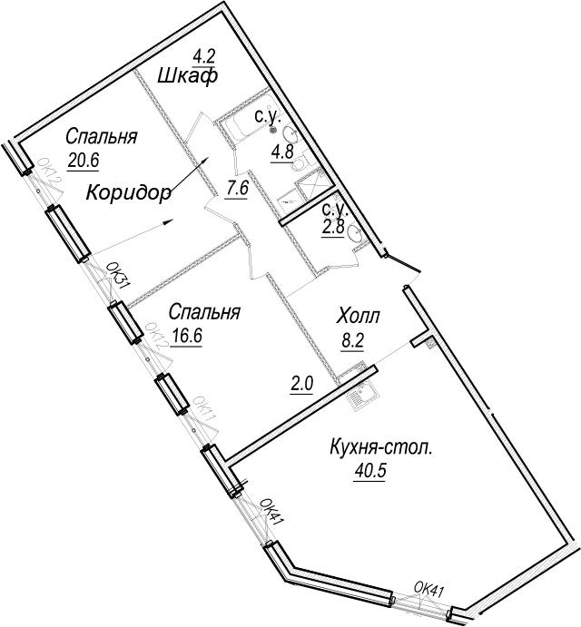 3Е-к.кв, 107.3 м², 4 этаж