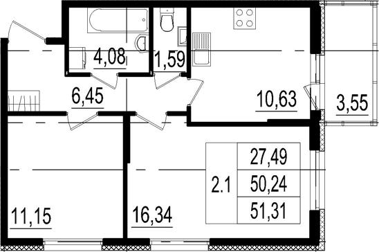 2-комнатная квартира, 50.24 м², 1 этаж – Планировка