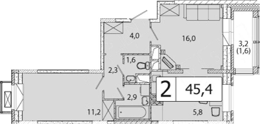2Е-комнатная, 45.4 м²– 2