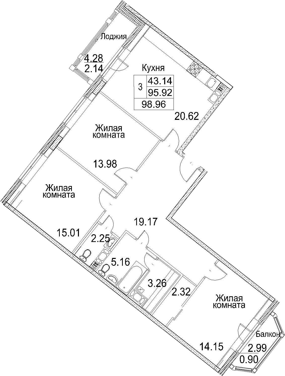 4Е-комнатная, 98.96 м²– 2