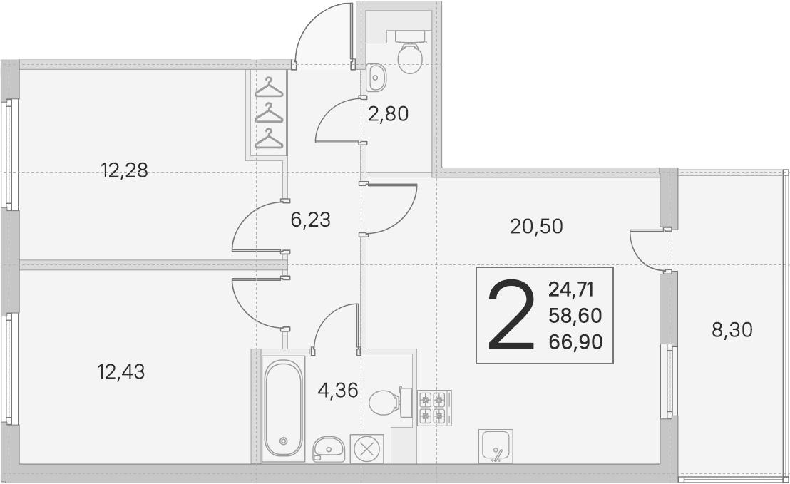 3Е-к.кв, 58.6 м², 1 этаж