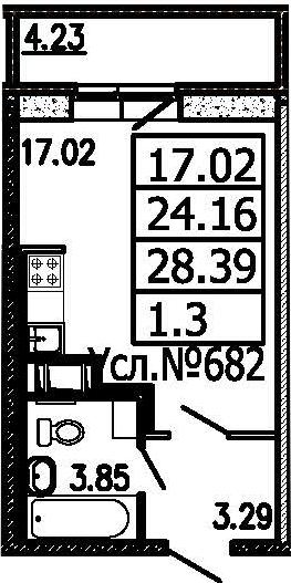 Студия, 24.16 м²– 2
