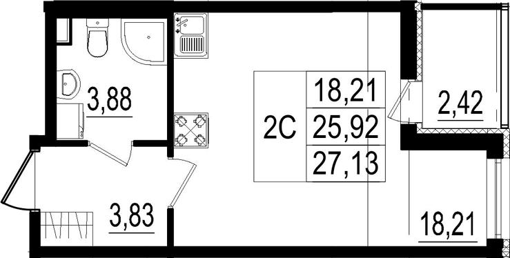 Студия, 25.92 м², 2 этаж – Планировка