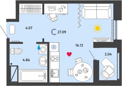 Студия, 27.09 м²– 2