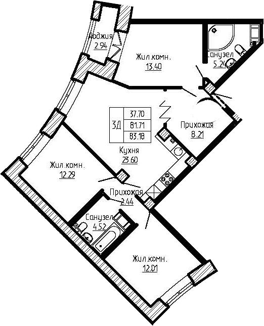4-к.кв (евро), 84.65 м²