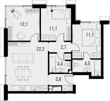 4Е-к.кв, 71.9 м², 12 этаж