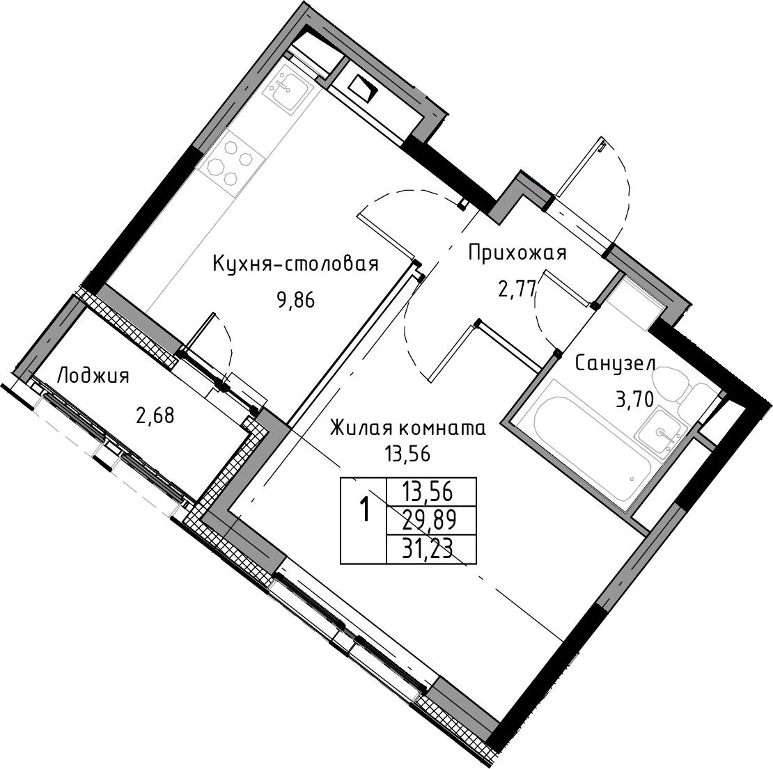 1-к.кв, 31.23 м²