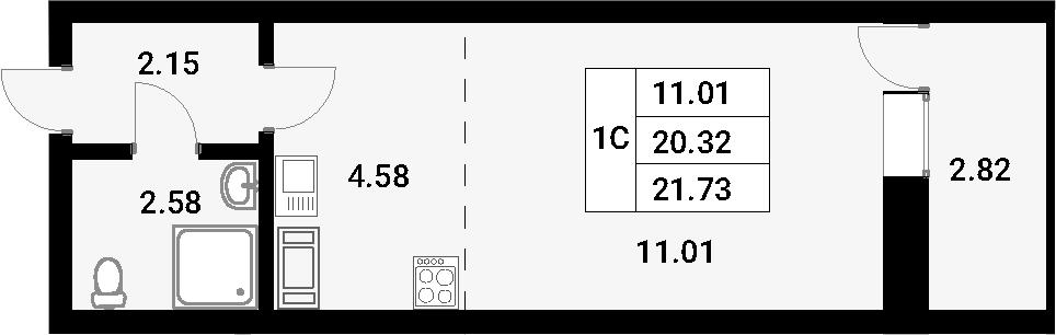 Студия, 21.73 м²