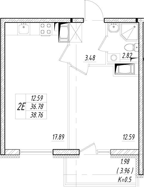 2-к.кв (евро), 43.38 м²