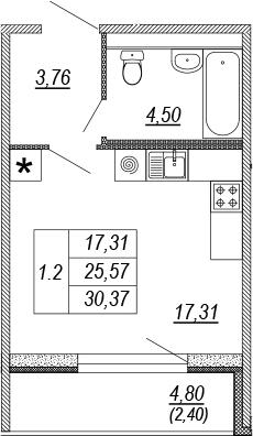 Студия, 25.57 м², от 9 этажа