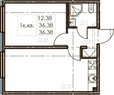 2Е-к.кв, 36.38 м², от 11 этажа