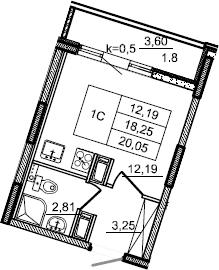 Студия, 20.05 м², 5 этаж