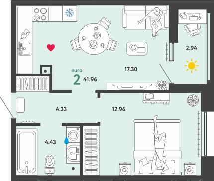 2Е-к.кв, 41.96 м²