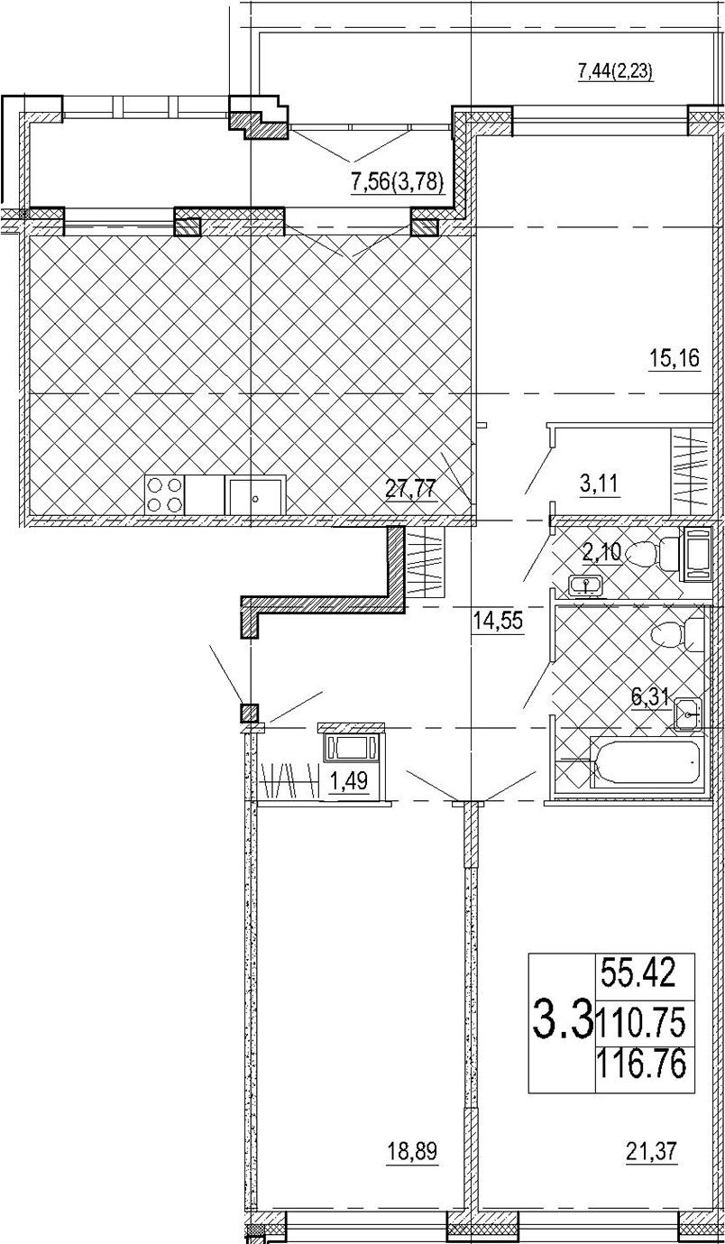 4Е-к.кв, 116.76 м², 7 этаж