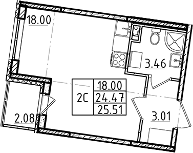 Студия, 24.47 м²