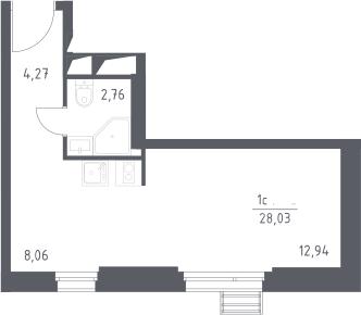 Студия, 28.03 м²– 2