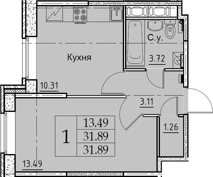 1-к.кв, 31.89 м², 2 этаж