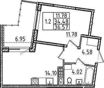 2Е-к.кв, 34.48 м², 5 этаж