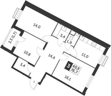 3-к.кв, 76.7 м², 3 этаж