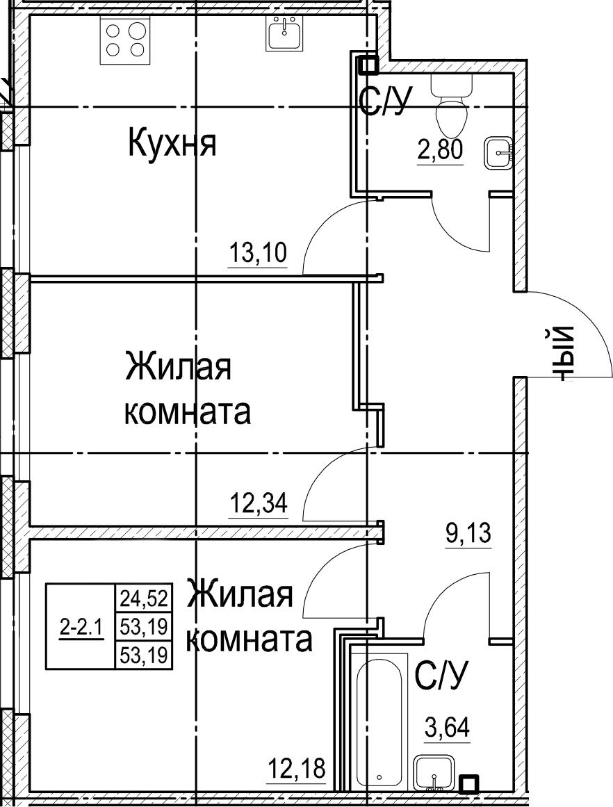 2-к.кв, 53.19 м²