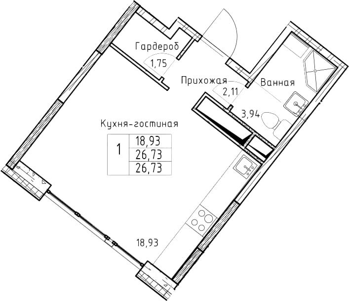 Студия, 26.73 м²– 2