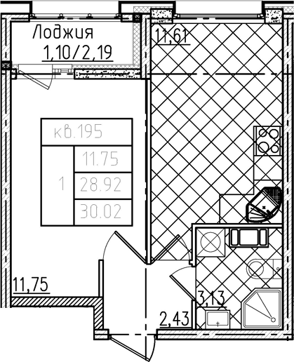1-к.кв, 30.02 м²