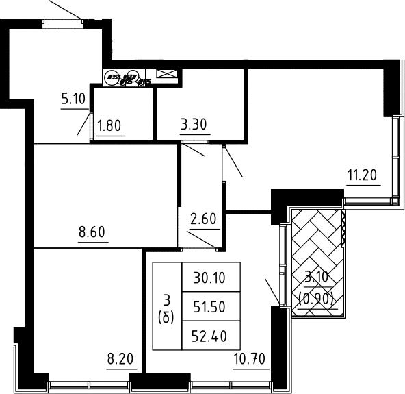 3Е-к.кв, 52.4 м², 12 этаж