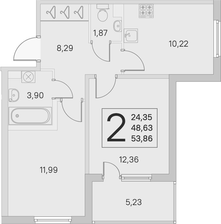 2-к.кв, 48.63 м²