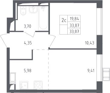 2Е-к.кв, 33.87 м², 14 этаж