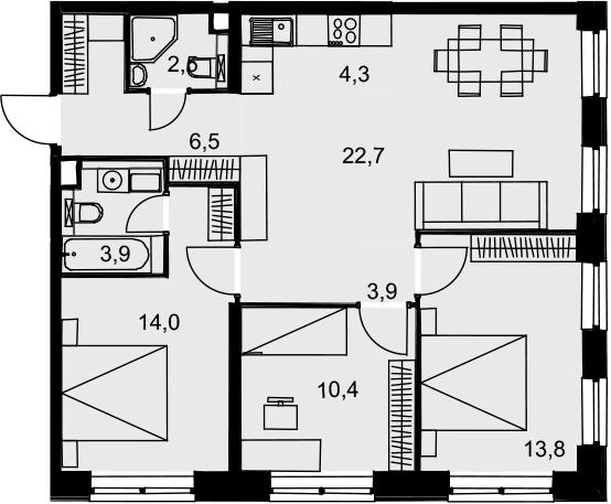 4Е-к.кв, 82 м², 11 этаж